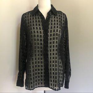 Joanna vintage semi sheer long sleeve black top L